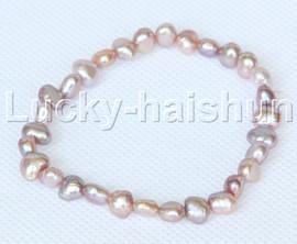 stretchy 8mm Baroque purple freshwater pearls bracelet j12660