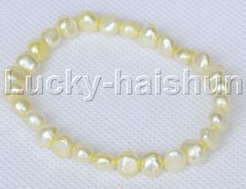 stretchy 8mm Baroque light yellow freshwater pearls bracelet j12661