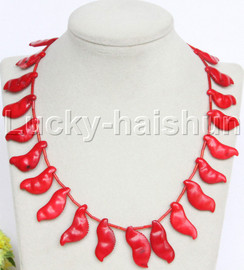"""AAA 16-18"""" 11mm carved pea red coral necklace 18KGP clasp j12682"""