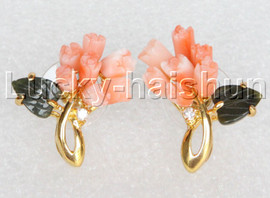 AAA 100% natural carved pink coral jade Earring gold-plated j12692