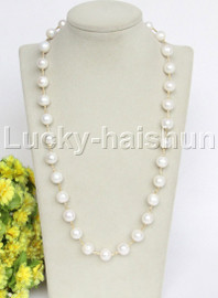 """natural 24"""" 12mm white round freshwater pearls necklace j12693"""