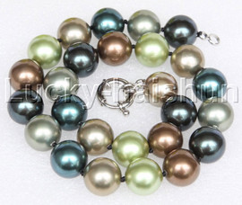 """Genuine 18"""" 16mm Multi-color south sea shell pearls necklace 18KGP clasp j12702"""
