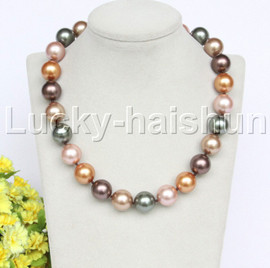 """18"""" 16mm gray golden coffee south sea shell pearls necklace 18KGP clasp j12704"""