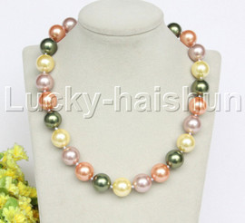 """18"""" 16mm green yellow purple golden south sea shell pearls necklace 18KGP clasp j12706"""