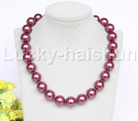 """Genuine 18"""" 16mm wine red south sea shell pearls necklace 18KGP clasp j12713"""