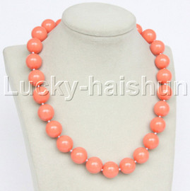 """Genuine 18"""" 16mm coral-pink south sea shell pearls necklace 18KGP clasp j12714"""