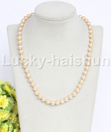 """18"""" 8mm light champagne  light yellow south sea shell pearls necklace 18KGP clasp j12721"""