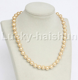 """18"""" 10mm light champagne light yellow south sea shell pearls necklace 18KGP clasp j12722"""