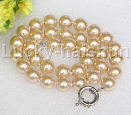 """18"""" 12mm light champagne light yellow south sea shell pearls necklace 18KGP clasp j12723"""