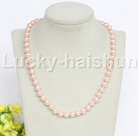 """18"""" 8mm pink light pink south sea shell pearls necklace 18KGP clasp j12726"""