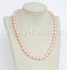 """18"""" 10mm pink light pink south sea shell pearls necklace 18KGP clasp j12727"""