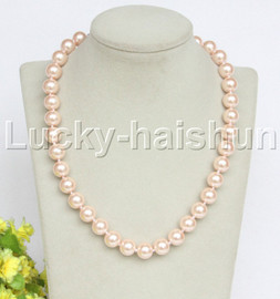 """18"""" 12mm pink light pink south sea shell pearls necklace 18KGP clasp j12728"""
