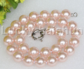 """18"""" 14mm pink light pink south sea shell pearls necklace 18KGP clasp j12729"""