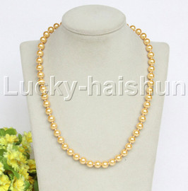 """18"""" 8mm golden yellow south sea shell pearls necklace 18KGP clasp j12731"""