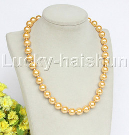 """18"""" 12mm golden yellow south sea shell pearls necklace 18KGP clasp j12732"""