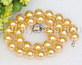 """18"""" 14mm golden yellow south sea shell pearls necklace 18KGP clasp j12733"""