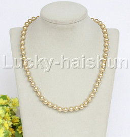 """18"""" 8mm champagne dark champagne south sea shell pearls necklace 18KGP clasp j12735"""