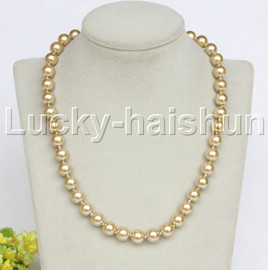 """18"""" 10mm champagne dark champagne south sea shell pearls necklace 18KGP clasp j12736"""