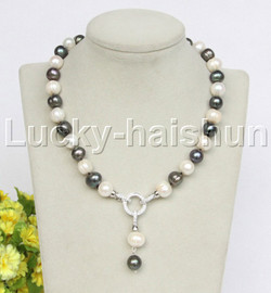 """natural 18"""" 12mm string beaded round white black freshwater pearl necklace j12776"""