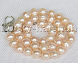 """natural 18"""" 10mm string beaded round pink freshwater pearls necklace j12779"""