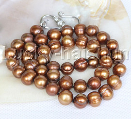 """natural 18"""" 10mm string beaded round coffee freshwater pearls necklace j12781"""