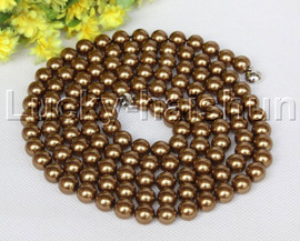 """Genuine 52"""" 10mm beaded coffee south sea shell pearls necklace magnet clasp j12788"""