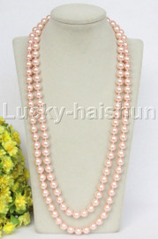 """Genuine 52"""" 10mm beaded pink south sea shell pearls necklace magnet clasp j12790"""