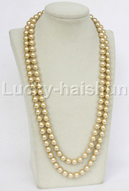 """Genuine 52"""" 10mm beaded light champagne south sea shell pearls necklace magnet clasp j12792"""
