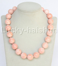"""GENUINE 19"""" 100% NATURAL 18MM ROUND PINK CORAL NECKLACE j12800"""