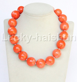 """GENUINE 18"""" 100% NATURAL 23MM ROUND PINK CORAL NECKLACE j12801"""