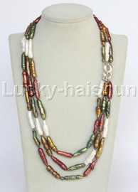 """Genuine 21-23"""" 3row white green wine red coffee Multicolor pearls necklace j12832"""