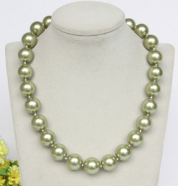 """Genuine 18"""" 16mm round light green south sea shell pearls necklace gold plated clasp j12850"""