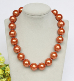 """Genuine 18"""" 20mm round light coffee south sea shell pearls necklace gold plated clasp j12851"""