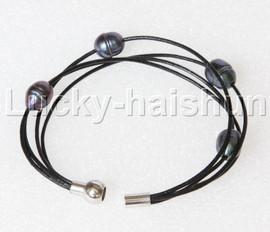 "Baroque 8"" 4 Rows Black pearls Black leather bracelet magnet clasp j12877"