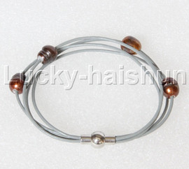 Baroque 4 Rows coffee freshwater pearls gray leather bracelet magnet clasp j12889