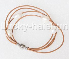 Baroque 4 Rows white freshwater pearls khaki leather bracelet magnet clasp j12882