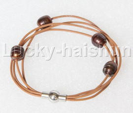 Baroque 4 Rows coffee freshwater pearls khaki leather bracelet magnet clasp j12883