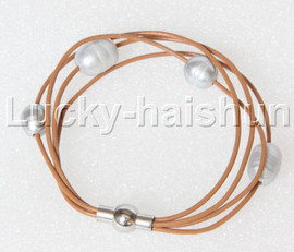 Baroque 4 Rows gray freshwater pearls khaki leather bracelet magnet clasp j12885