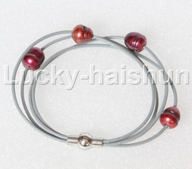 Baroque 4 Rows wine red freshwater pearls gray leather bracelet magnet clasp j12888
