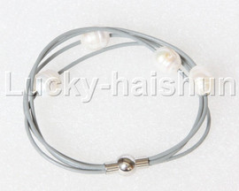 Baroque 4 Rows white freshwater pearls gray leather bracelet magnet clasp j12890