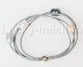 Baroque 4 Rows white pink gray Black freshwater pearls gray leather bracelet magnet clasp j12892