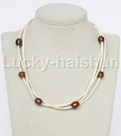 Baroque 3 Rows coffee freshwater pearls white leather necklace magnet clasp j12942