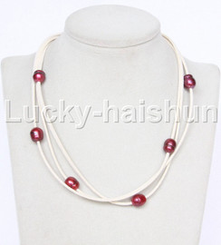 Baroque 3 Rows wine red freshwater pearls white leather necklace magnet clasp j12947