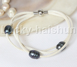 Baroque 3 Rows black freshwater pearls white leather bracelet magnet clasp j12953