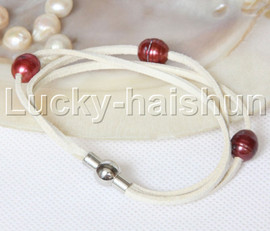 Baroque 3 Rows wine red freshwater pearls white leather bracelet magnet clasp j12957