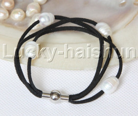 Baroque 3 Rows white freshwater pearls white leather bracelet magnet clasp j12958
