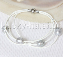 Baroque 4 Rows gray freshwater pearls white leather bracelet magnet clasp j12961