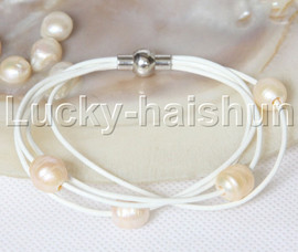 Baroque 4 Rows pink freshwater pearls white leather bracelet magnet clasp j12962