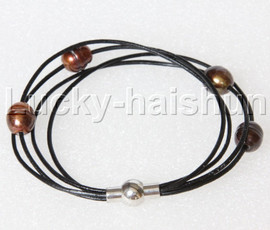 Baroque 4 Rows rice coffee freshwater pearls Black leather bracelet magnet clasp j12971