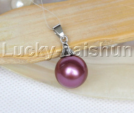 14mm round beads wine red south sea shell pearls necklace pendant j12984